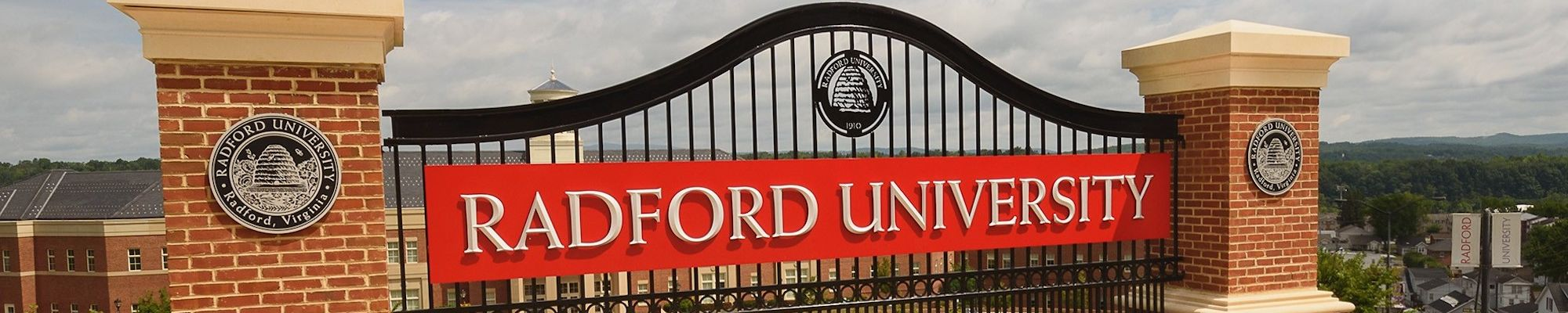 Radford University sign at gate