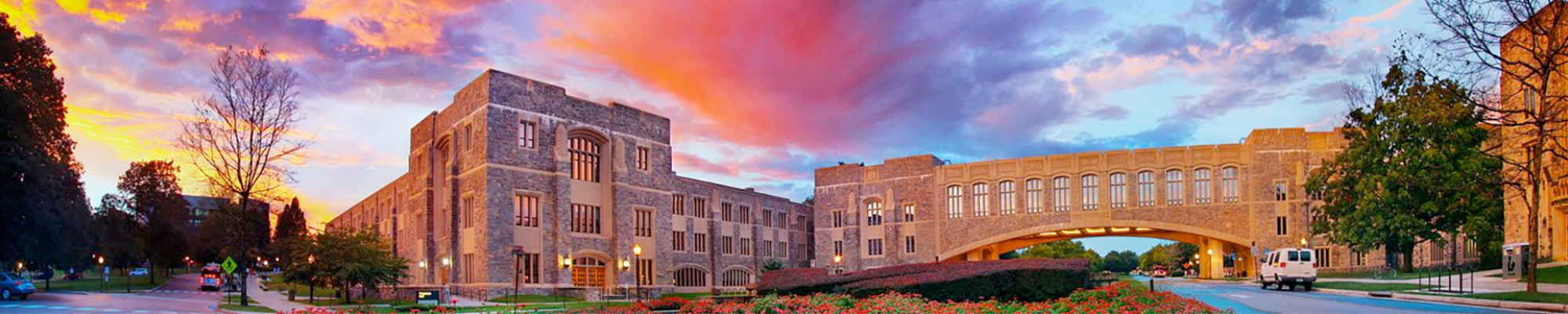Virginia Tech arch at sunset